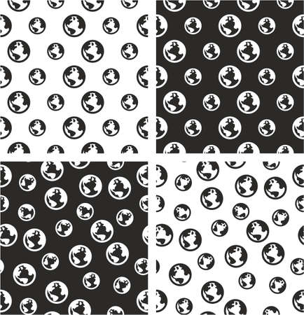 big and small: Planet Earth Big & Small Aligned & Random Seamless Pattern Set