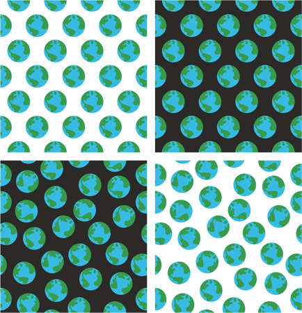 Planet Earth Aligned & Random Seamless Pattern Color Set Illustration