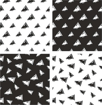 big and small: Old Megaphone Big & Small Aligned & Random Seamless Pattern Set Illustration