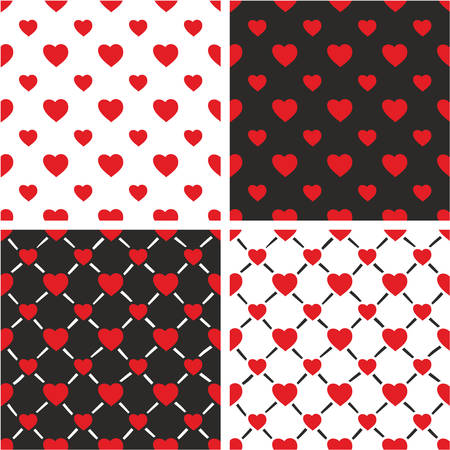big and small: Heart Freehand Big & Small Seamless Pattern Set