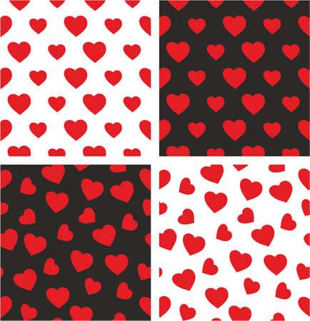 Heart Freehand Big & Small Aligned & Random Seamless Pattern Set Illustration