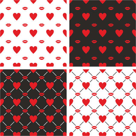 big and small: Heart & Red Lips Big & Small Seamless Pattern Set