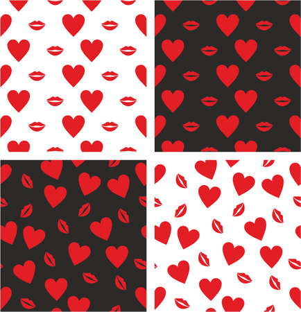 big and small: Heart & Red Lips Big & Small Aligned & Random Seamless Pattern Set