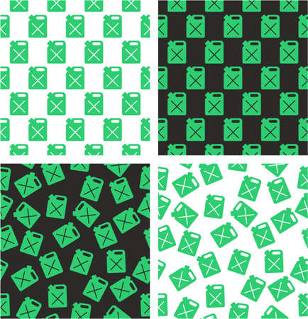 aligned: Canister for Gas or Oil Aligned & Random Seamless Pattern Green Color Set
