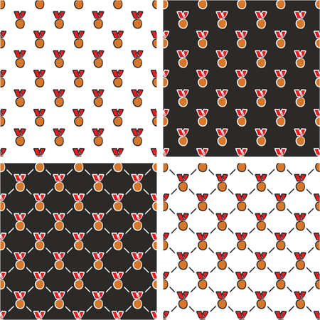 bronze medal: Bronze Medal Freehand Seamless Pattern Red Color Set