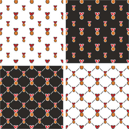 bronze medal: Bronze Medal Freehand Big & Small Seamless Pattern Red Color Set