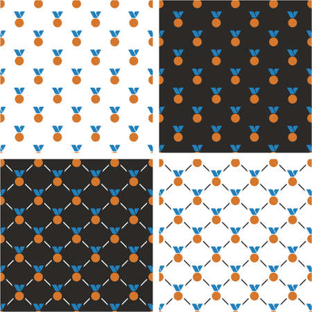 bronze medal: Bronze Medal Seamless Pattern Blue Color Set