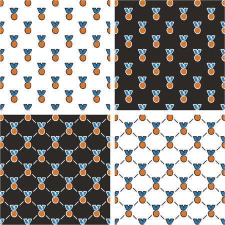 bronze medal: Bronze Medal Freehand Seamless Pattern Blue Color Set Illustration