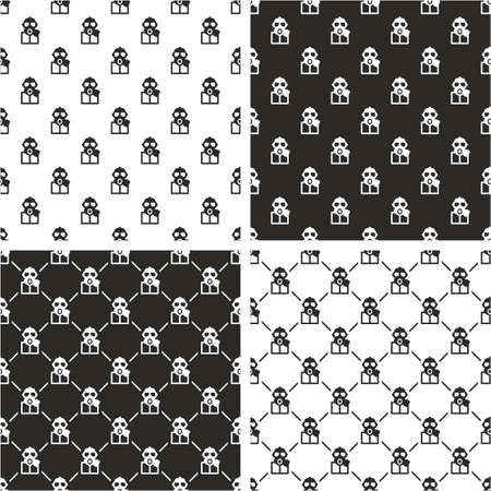 Biohazard Suit & Gasmask Avatar Seamless Pattern Set