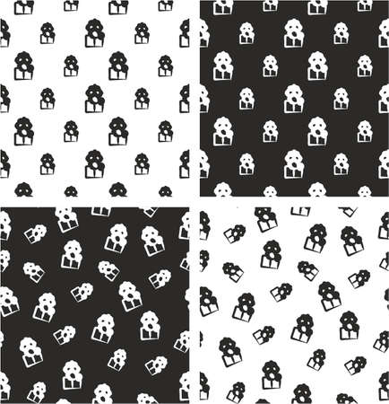 biohazard: Biohazard Suit & Gasmask Avatar Freehand Big & Small Aligned & Random Seamless Pattern Set
