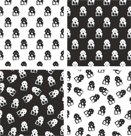 biohazard: Biohazard Suit & Gasmask Avatar Freehand Aligned & Random Seamless Pattern Set Illustration