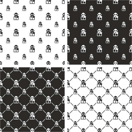 biohazard: Biohazard Suit & Gasmask Avatar Big & Small Seamless Pattern Set Illustration