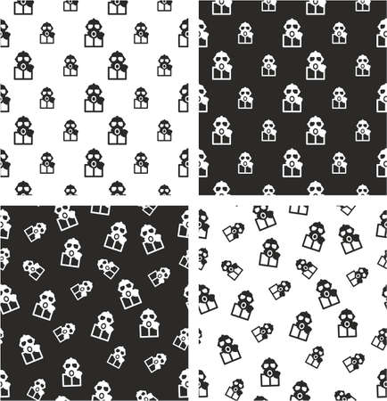 biohazard: Biohazard Suit & Gasmask Avatar Big & Small Aligned & Random Seamless Pattern Set
