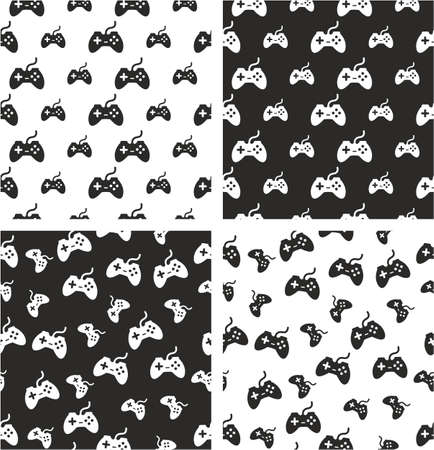 big and small: Gaming Joystick Big & Small Aligned & Random Seamless Pattern Set
