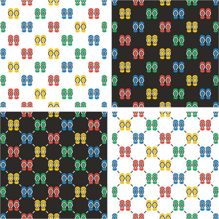 flops: Flip Flops Seamless Pattern Color Set