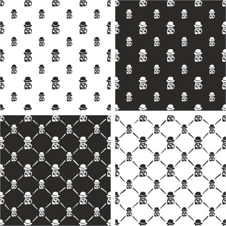 big and small: Gentleman Avatar Freehand Big & Small Seamless Pattern Set Illustration