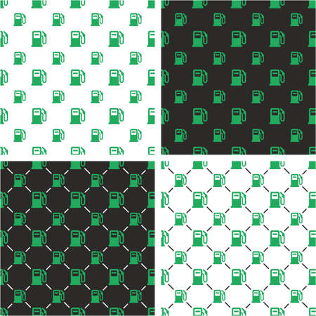 Gas Pump Big & Small eamless Pattern Green Color Set