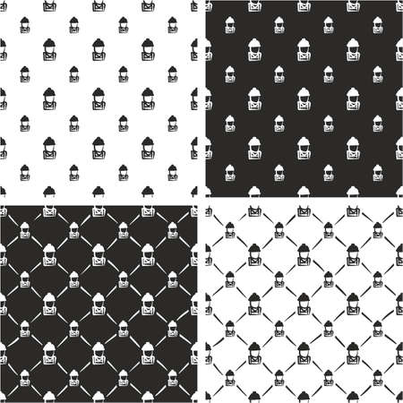 big and small: Construction Worker Avatar Freehand Big & Small Seamless Pattern Set Illustration