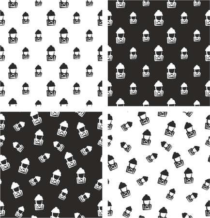 Construction Worker Avatar Freehand Big & Small Aligned & Random Seamless Pattern Set Illustration