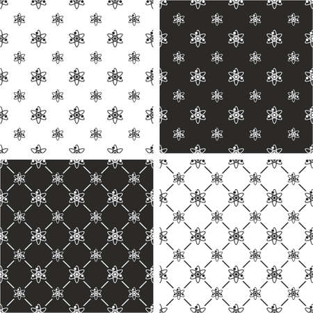 big and small: Atom Symbol or Atom Sign Big & Small Seamless Pattern Set