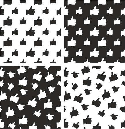 Like Icon Big & Small Aligned & Random Seamless Pattern Set Illustration