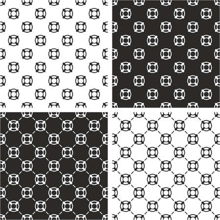 life bouy: Life Belt Seamless Pattern Set Illustration