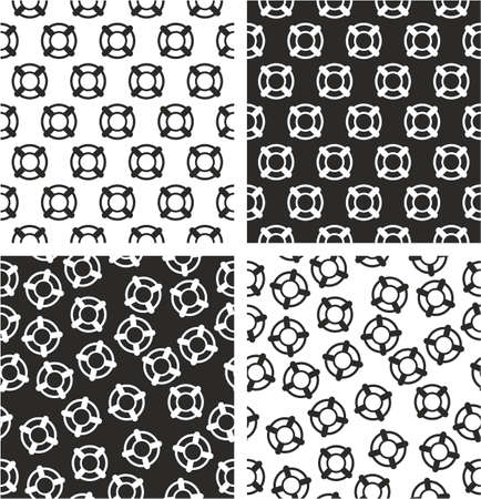 life bouy: Life Belt Aligned & Random Seamless Pattern Set