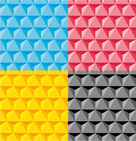 CMYK 3D Pyramid Seamless Vector Pattern or Seamless Vector Pattern