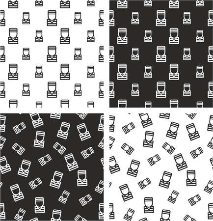 Prisoner or Inmate Avatar Big & Small Aligned & Random Seamless Pattern Set