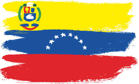 flag: Venezuela Flag Vector Hand Painted with Rounded Brush
