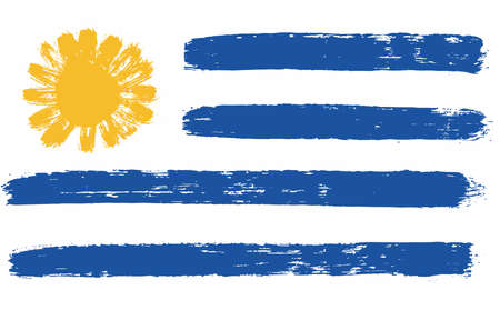 Uruguay Flag Vector Hand Painted with Rounded Brush