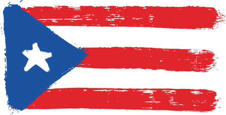 Puerto Rico Flag Vector Hand Painted with Rounded Brush