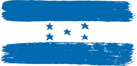bandera honduras: Honduras Flag Vector Hand Painted with Rounded Brush Vectores
