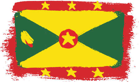 Grenada Flag Vector Hand Painted with Rounded Brush