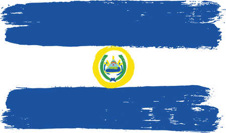 El Salvador Flag Vector Hand Painted with Rounded Brush