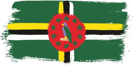 Dominica Flag Vector Hand Painted with Rounded Brush