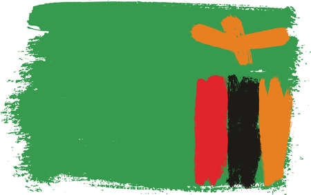 Zambia Flag Vector Hand Painted with Rounded Brush
