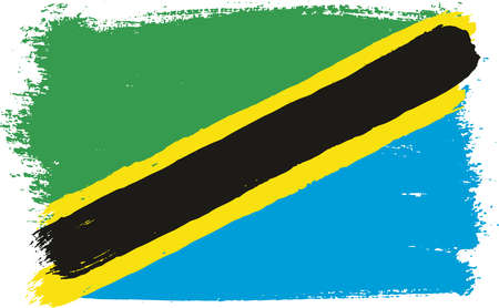 tanzania: Tanzania Flag Vector Hand Painted with Rounded Brush