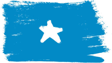 Somalia Flag Vector Hand Painted with Rounded Brush
