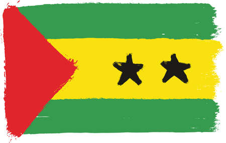 Sao Tome and Principe Flag Vector Hand Painted with Rounded Brush. Illustration