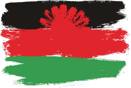 Malawi Flag Vector Hand Painted with Rounded Brush.