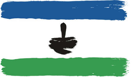 Lesotho Flag Vector Hand Painted with Rounded Brush