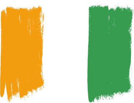 Vecteur de drapeau Côte d'Ivoire peint à la main avec une brosse arrondie Banque d'images - 76683722