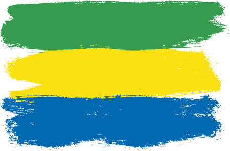 Gabon Flag Vector Hand Painted with Rounded Brush Illustration