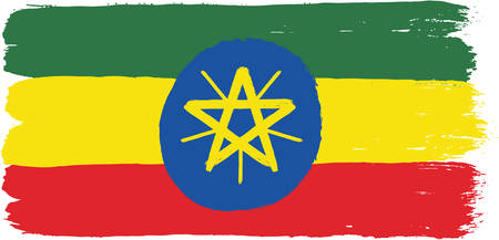 national flag ethiopia: Ethiopia Flag Vector Hand Painted with Rounded Brush