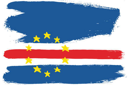 Cape Verde Flag Vector Hand Painted with Rounded Brush