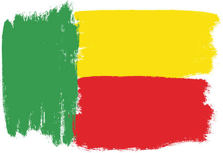 Benin Flag Vector Hand Painted with Rounded Brush