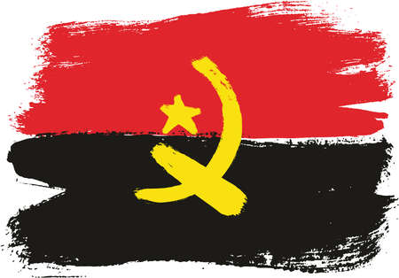 Angola Flag Vector Hand Painted with Rounded Brush
