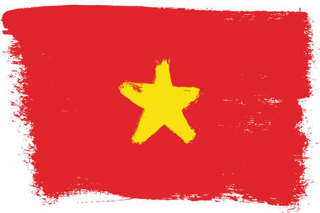Vietnam Flag Vector Hand Painted with Rounded Brush