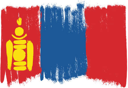 Mongolia Flag Vector Hand Painted with Rounded Brush
